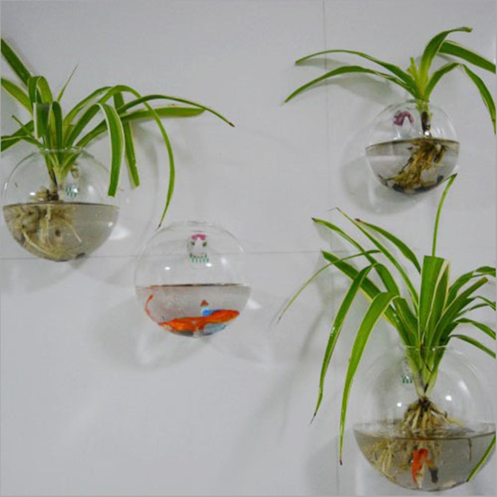 Decoração vasos flores parede aquario