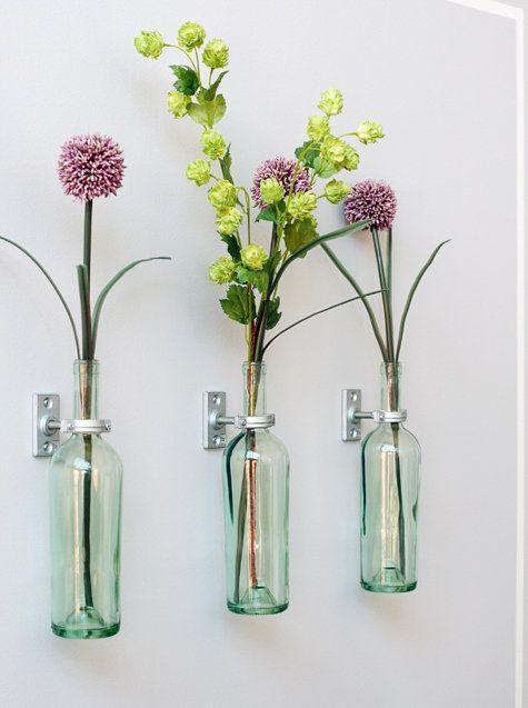 Decoração vasos flores parede garrafas