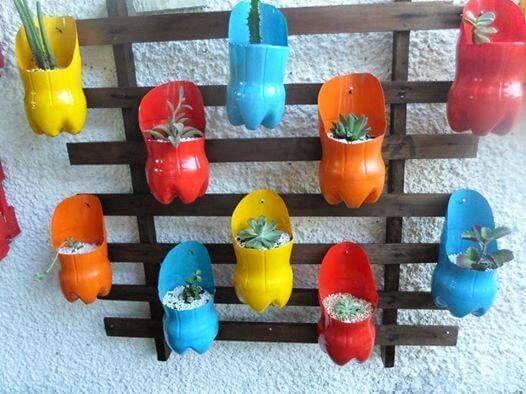 Jardim vertical garrafa PET madeira