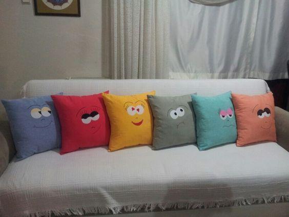 almofadas divertidas decoraçao carinhas