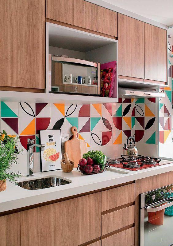 armario cozinha planejado colorido