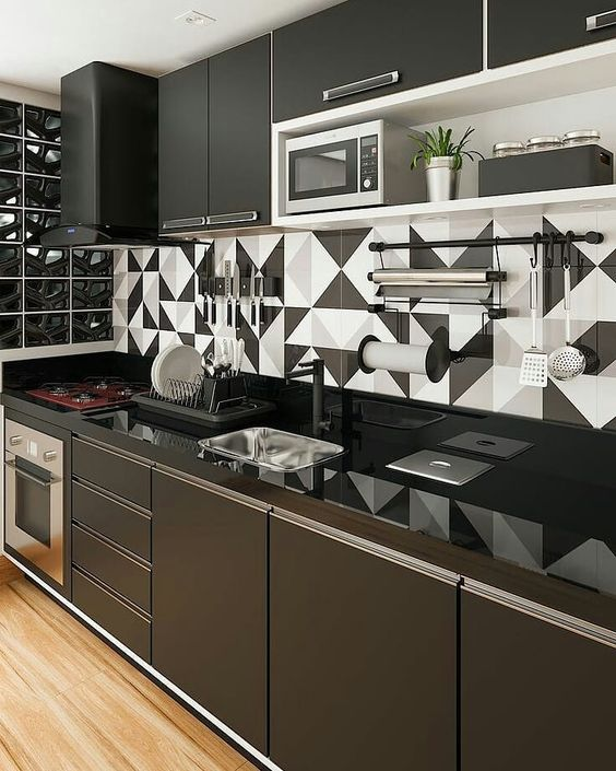 armario cozinha planejado preto