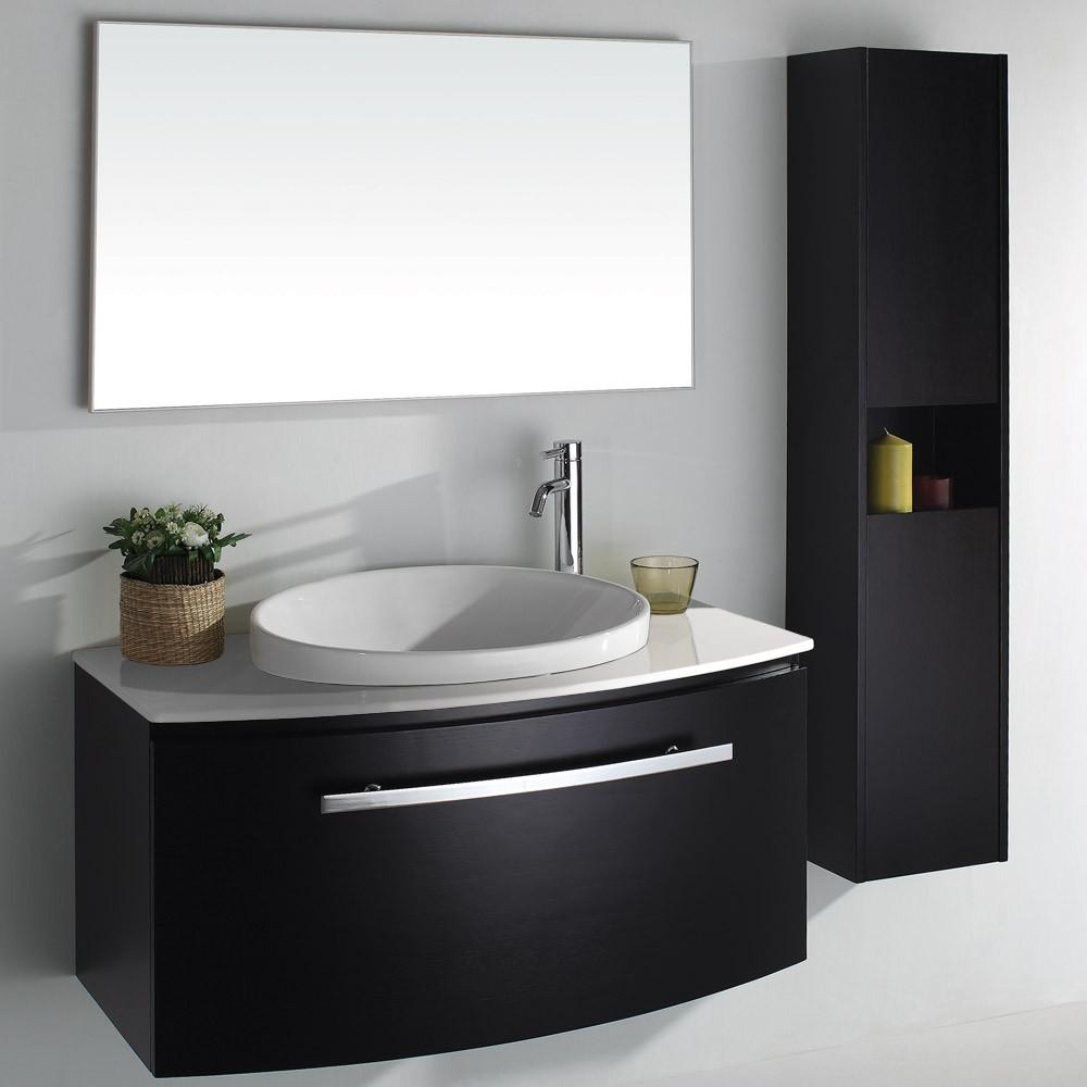 armario em preto para banheiro