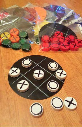 artesanato brinquedos dia criancas jogo tampinhas