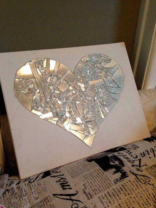 artesanato espelho quebrado quadro