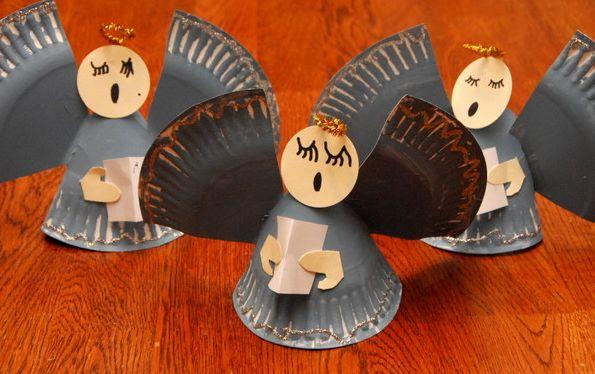 artesanato natal pratos descartáveis anjos