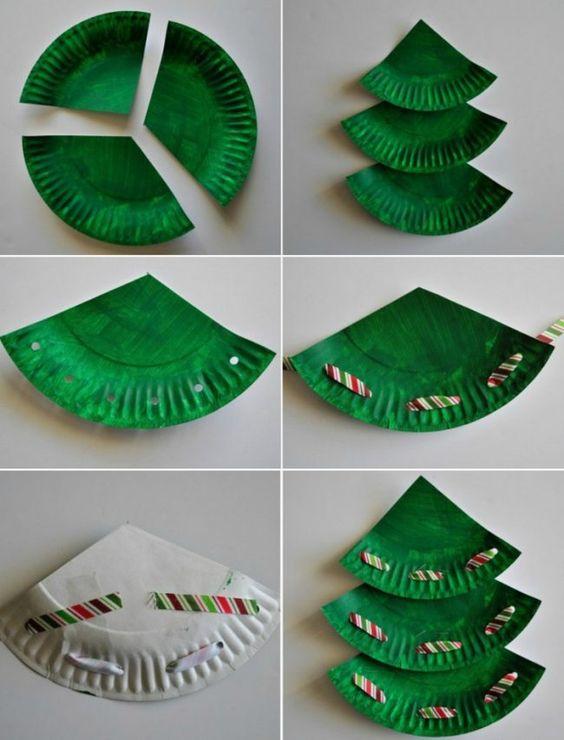 artesanato natal pratos descartáveis arvore natal