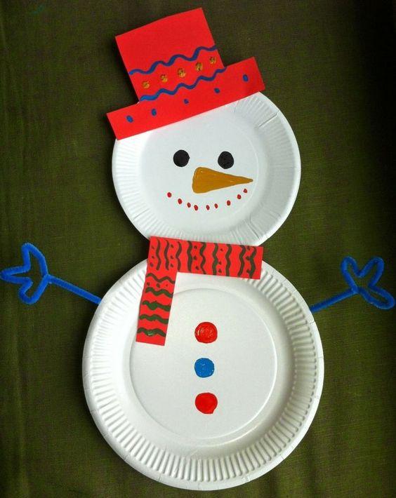 artesanato natal pratos descartáveis boneco neve