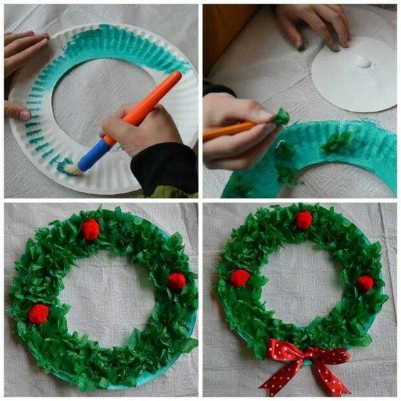artesanato natal pratos descartáveis guirnalda