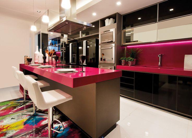 bancadas silestone cozinha rosa