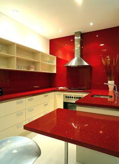bancadas silestone cozinha vermelho