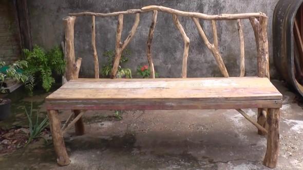 bancos artesanais madeira