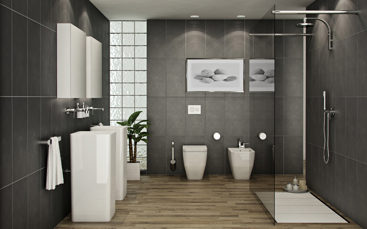 banheiro moderno em tons preto