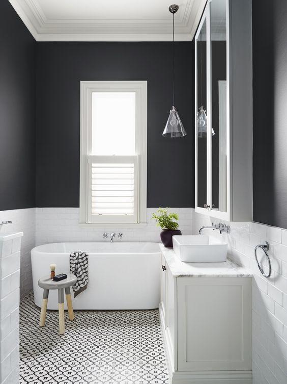 banheiros pretos brancos decorados 7