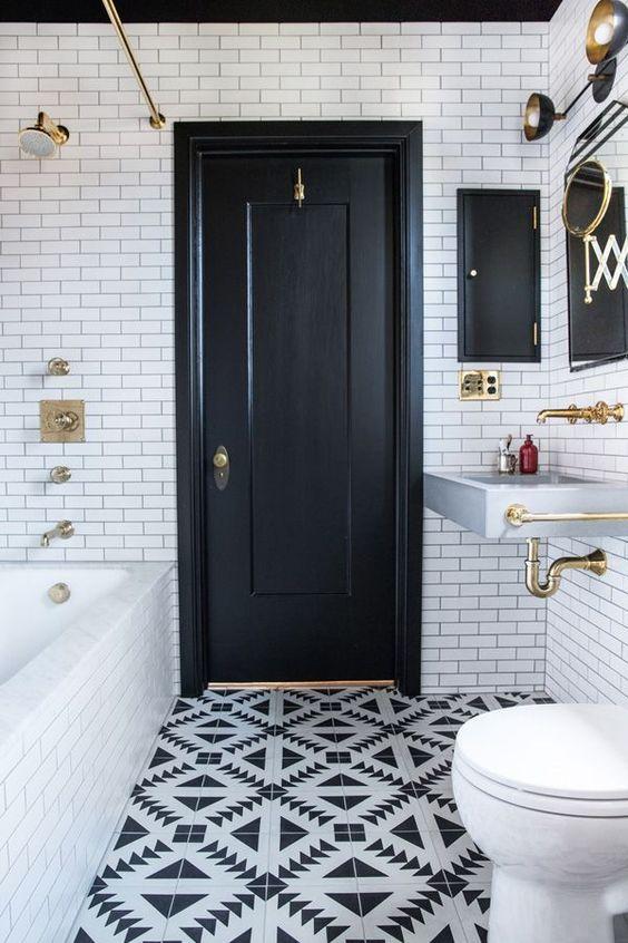 banheiros pretos brancos decorados 8