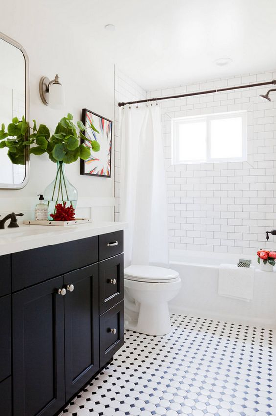 banheiros pretos brancos decorados
