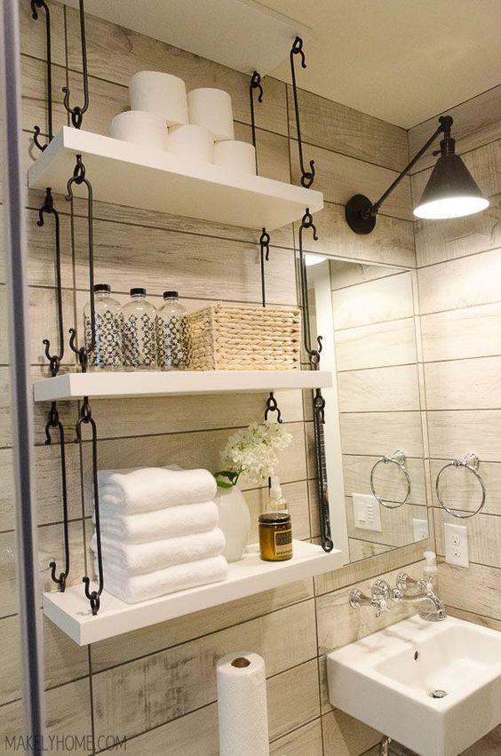 como organizar banheiro prateleiras