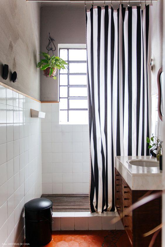 cortina banheiro criativa diferente
