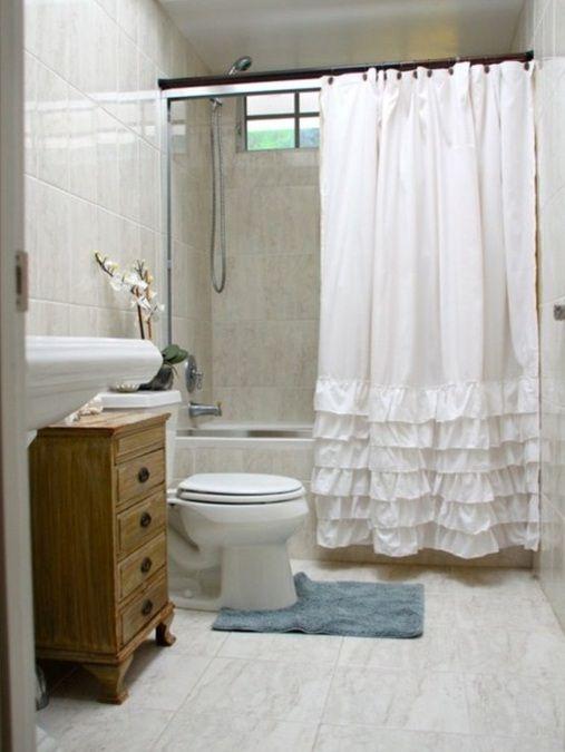 cortina banheiro criativa folhos