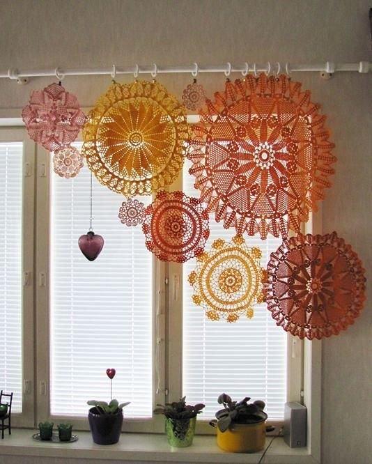 cortina banheiro croche colorida