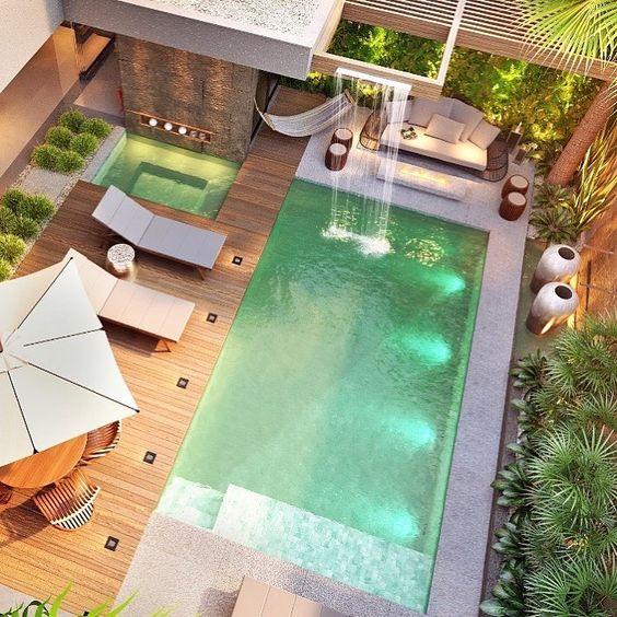 deck piscina cascata madeira