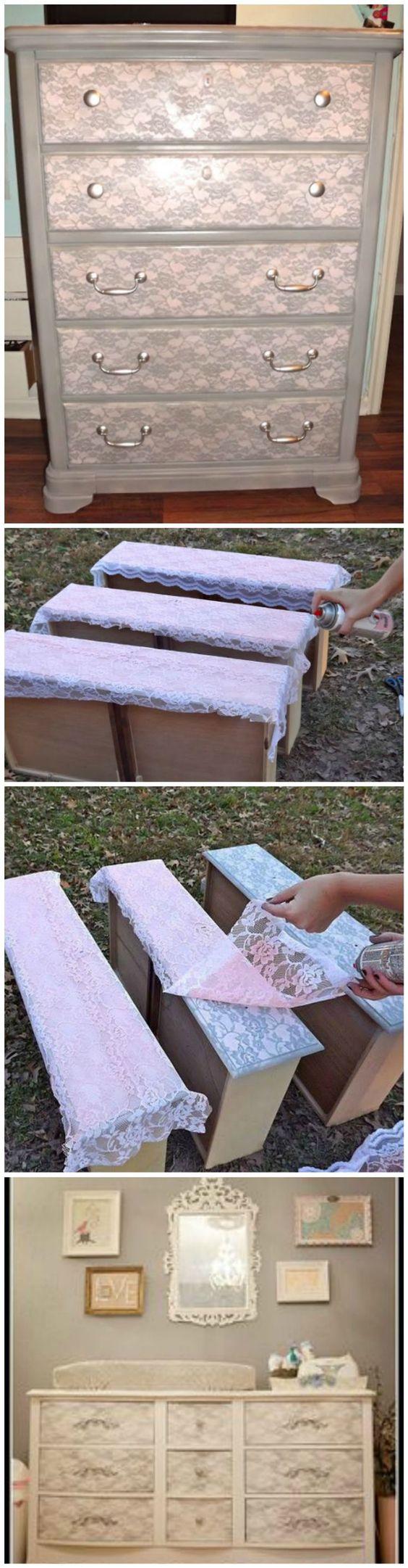 decoraçao com renda reciclagem de moveis
