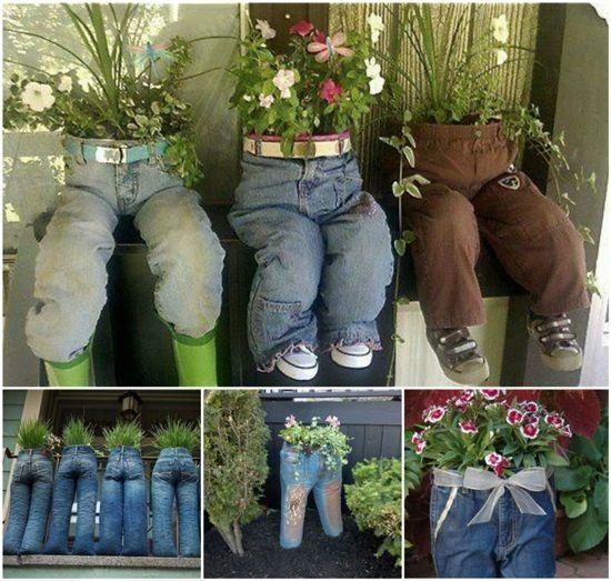 decoraçao de jardim com jeans