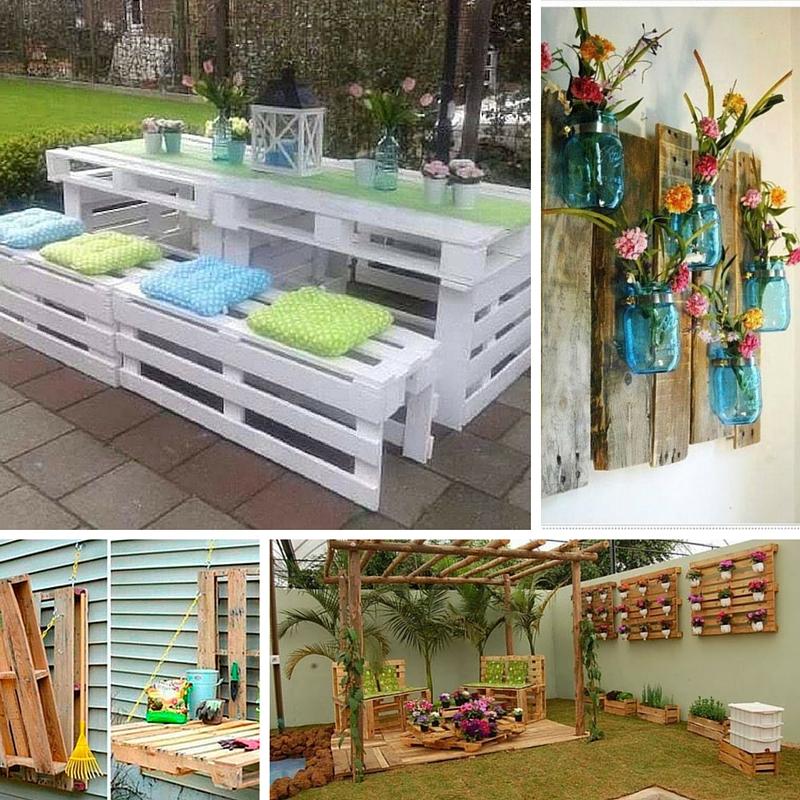Ideias de Decoraç u00e3o com Paletes de Madeira -> Decoração Para Jardins Com Paletes