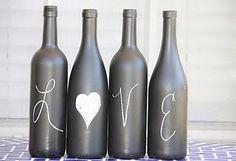 decoraçao simples de garrafas de vidro