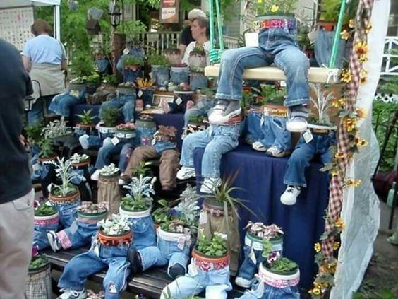 decoraçao de jardim com jeans 7