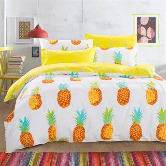 decoracao abacaxi roupa cama