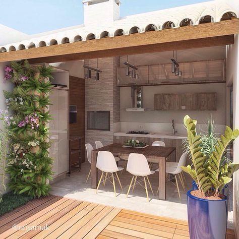 decoracao area gourmet externa madeira