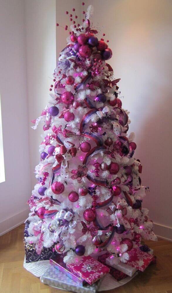 decoracao arvore branca rosa