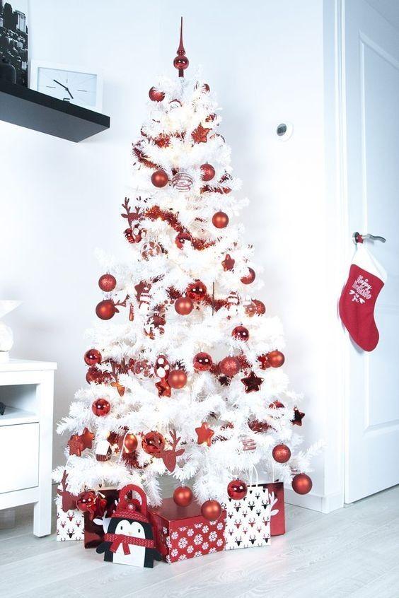 decoracao arvore branca vermelho