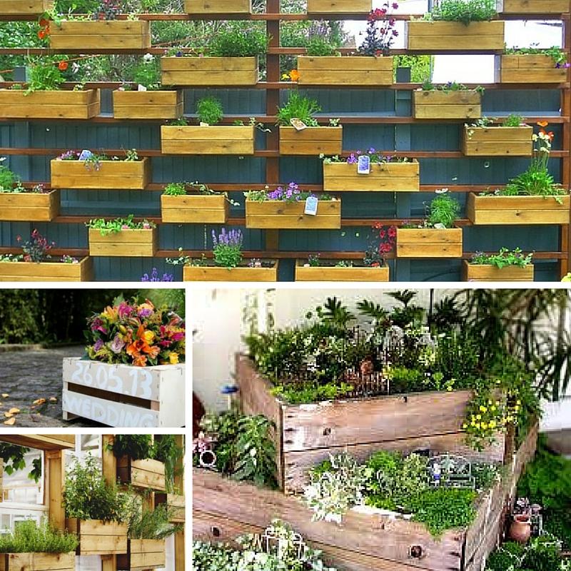 decoracao caixotes madeira jardim