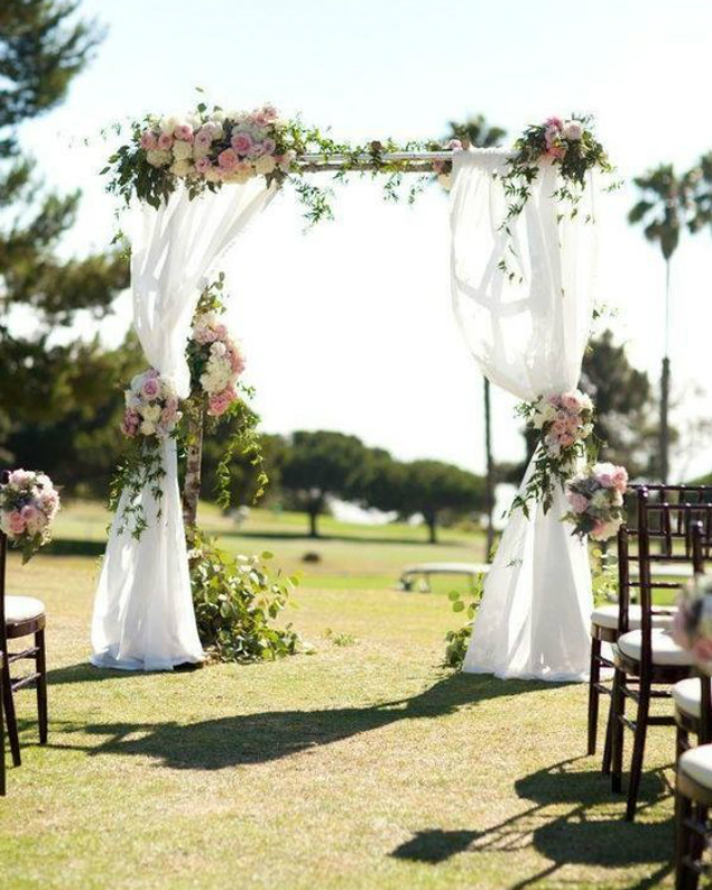 decoracao casamento simples cortinas