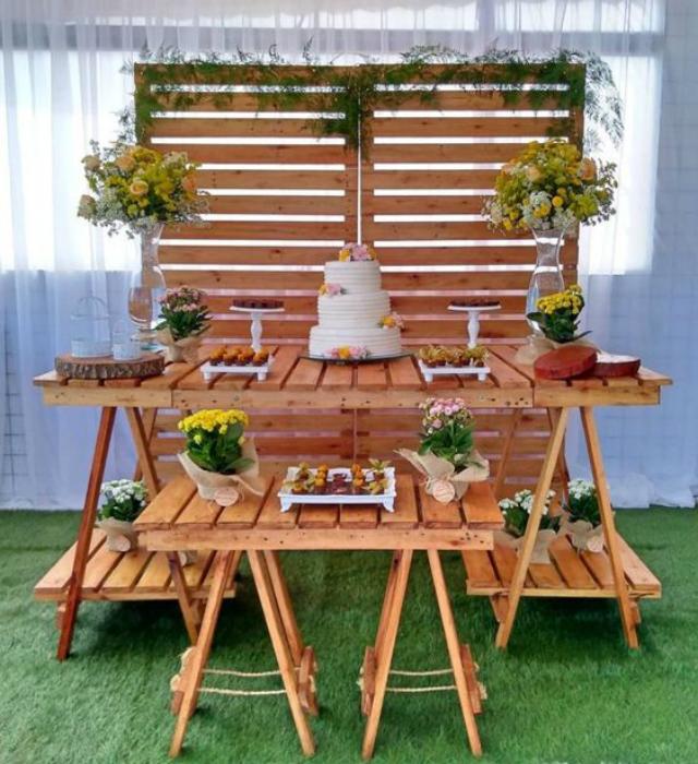 decoracao casamento simples madeira