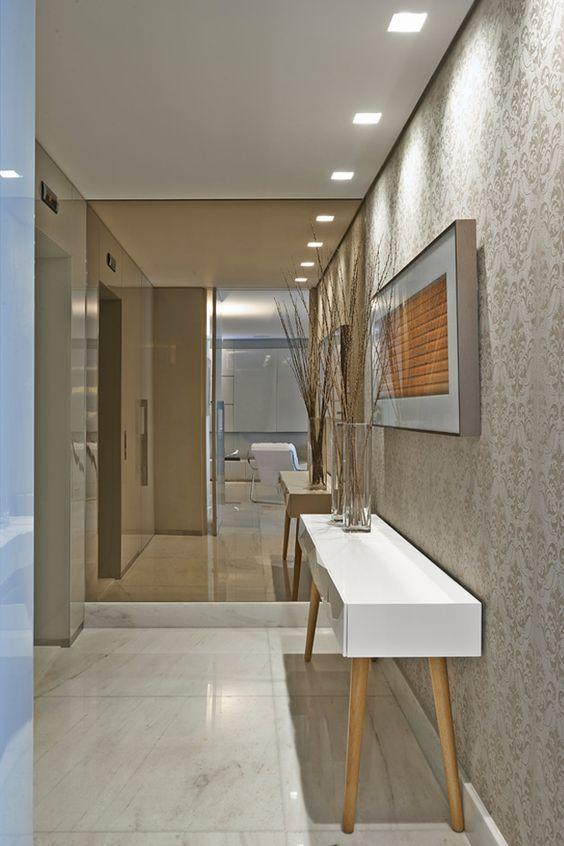 decoracao corredor cinza papel parede