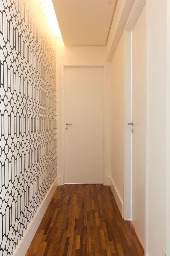 decoracao corredor papel parede