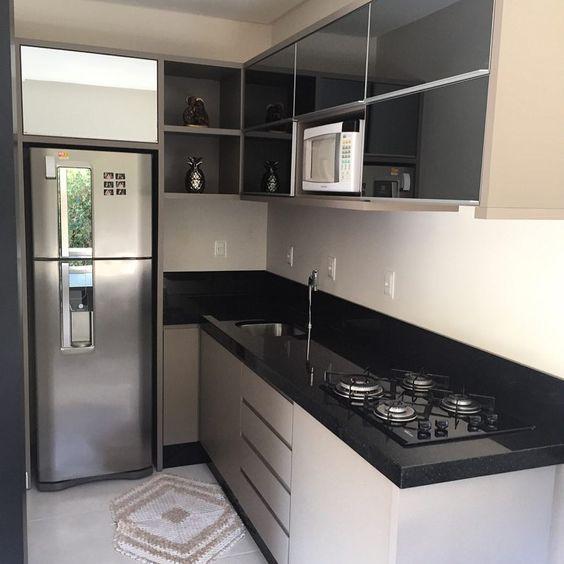decoracao cozinha preto branco