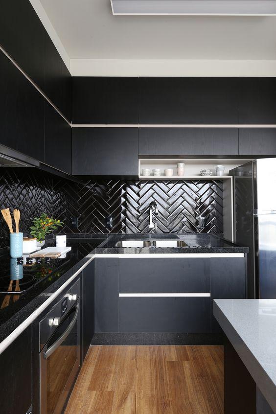 decoracao cozinha preto total