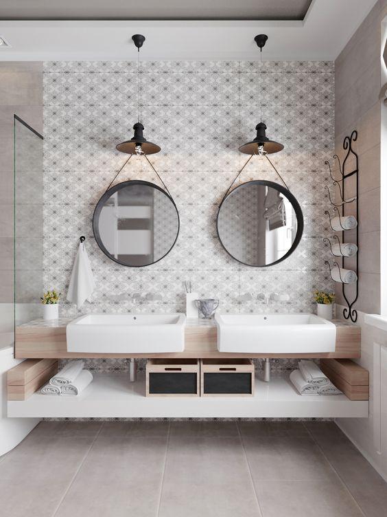 decoracao espelhos redondos banheiro