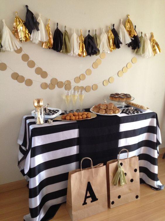 decoracao festa preto dourado