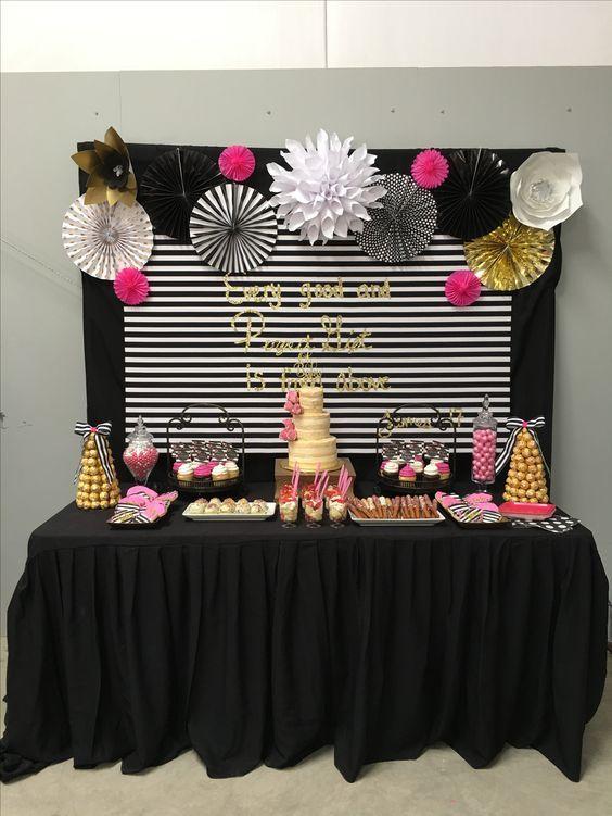decoracao festa preto rosa