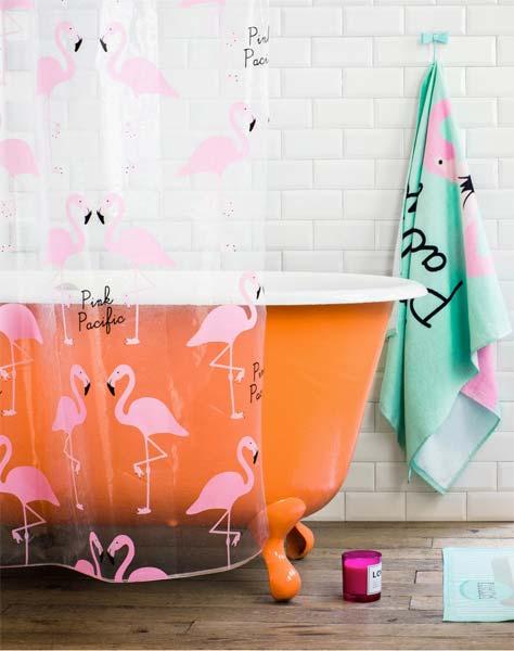 decoracao flamingo banheiro