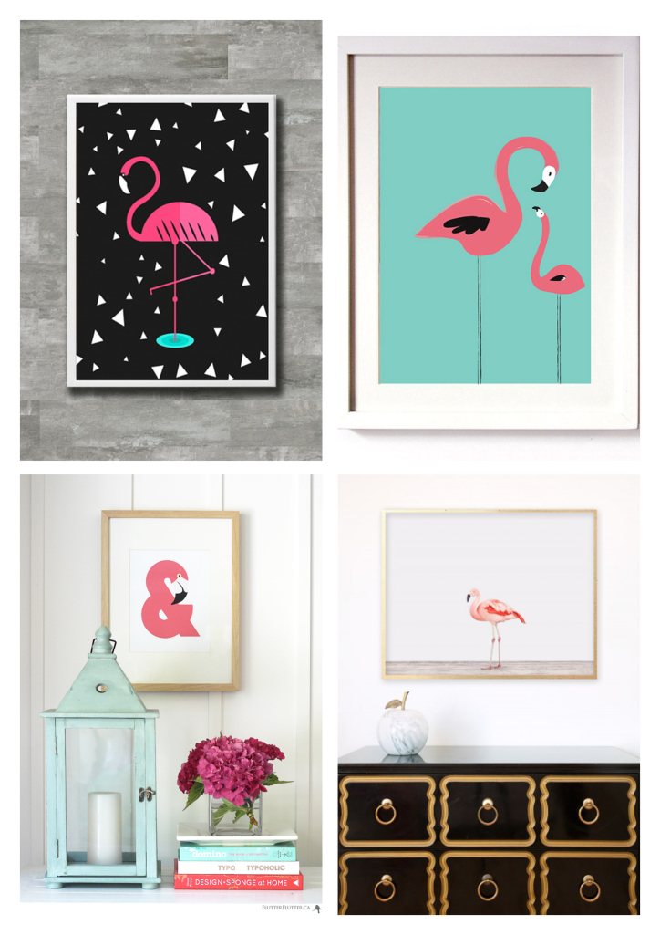 decoracao flamingos quadrinhos
