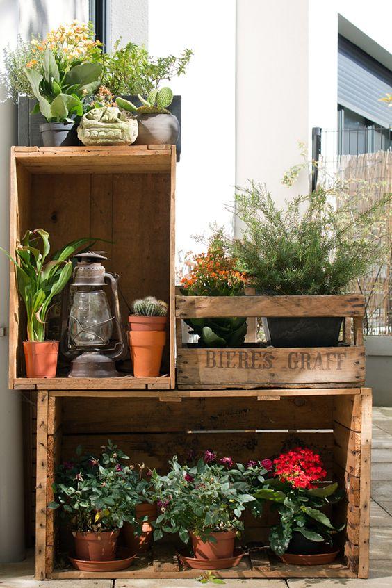 decoracao jardim caixas madeira