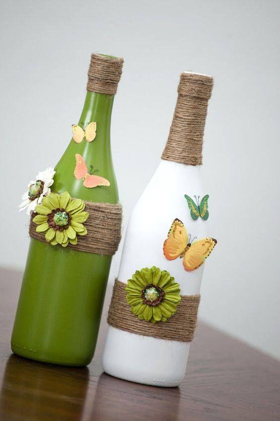 decoracao mesa garrafa vidro borboletas