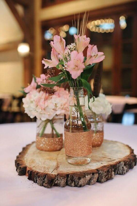 decoracao mesa garrafa vidro casamento