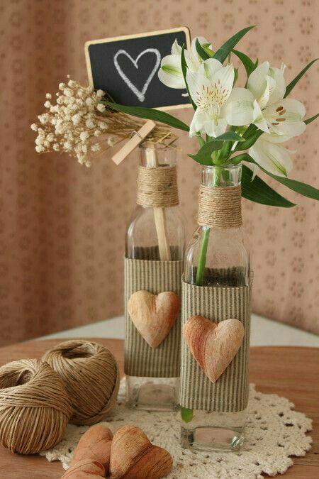decoracao mesa garrafa vidro coracao